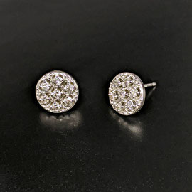 E 519 - 14K white gold disc earrings with 7 melee dia .20 ct. tw.
