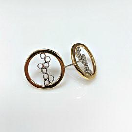 AN98 - 14K two tones 'bubble' earrings.