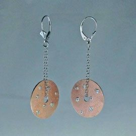 AN 19 - 14K  rose gold earrings with bezel set diamonds, hanging from white gold findings. Reverse side