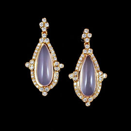 E 486 - 18K  rose gold earrings with pear shaped moonstones surrounded by .52 ct tw diamonds.