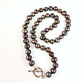BP 150 - Chocolate pearl necklace with sterling silver toggle clasp.