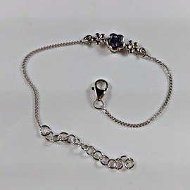 AN 117 - Sterling child's bracelet with purple stone.  Other stones available.