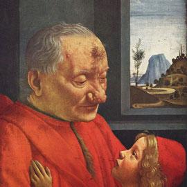 Vieil homme et enfant, musée du Louvre, vers 1490.