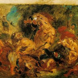 Eugene Delacroix,  La chasse aux lions, 1854.