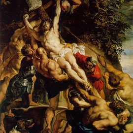 Pierre-Paul Rubens peint L'élévation de la Croix  en 1610.