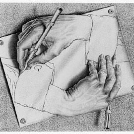 Mains dessinant, 1948.