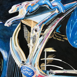 Blue Ford Hood Ornament