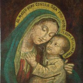 """""""Piccola Madonna del Buon Consiglio"""" - tecnica mista su tavola cm. 13,5 x 15,5 – Cernusco sul Naviglio, collezione privata"""