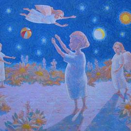 """""""Il giardino delle colombe"""" - acrilico su tavola cm. 60 x 80"""