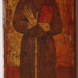 """""""San Francesco"""" - tecnica mista su tavola cm. 26 x 11 - Cernusco sul Naviglio, collezione dell'autore"""
