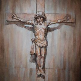 """""""Il Crocefisso di San Giuseppe Lavoratore"""" - olio su tela, cm. 30 x 40 - Cernusco sul Naviglio, collezione privata"""
