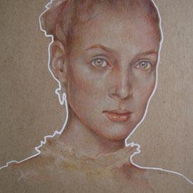 """""""Eleonora"""" - pastello su cartoncino colorato cm. 40 x 30 - Monza, collezione privata"""