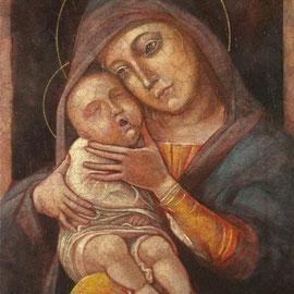 """""""Madonna col Bambino"""" – omaggio a Mantegna - tecnica mista su tavola cm. 22 x 17,5 ex voto, Cernusco sul Naviglio"""