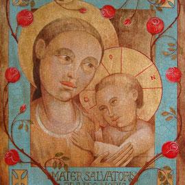 """""""Mater Salvatoris"""", tecnica mista su tavola cm. 38,5 x 31,5 – Cernusco sul Naviglio, collezione privata"""