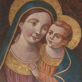 """""""Madonna del Buon Consiglio"""" (vedi scheda) - tecnica mista su cartone telato cm. 24 x 18 - Cernusco sul Naviglio, collezione dell'autore"""