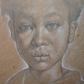 """""""Ragazzina"""" (particolare) - pastello su cartoncino colorato cm. 41 x 30"""