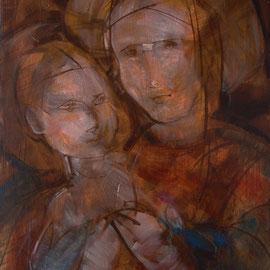 """""""Madonna con Bambino"""", olio e cera fredda su tavola, cm. 33 x 46 - € 150,00"""