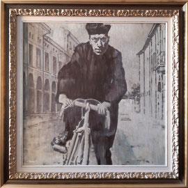 """""""Don Camillo"""" con cornice d'esempio - acrilico su tela, cm. 60 x 60 - € 300,00"""