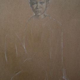 """""""Ragazzina"""" - pastello su cartoncino colorato cm. 41 x 30"""