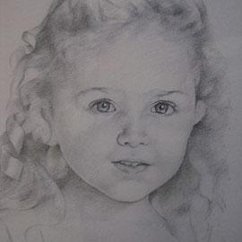 """""""Bambina col nastro"""" - matita su carta colorata cm. 28 x 18"""