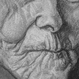"""Libero 62"" - carboncino su carta, cm. 35 x 50, particolare 3 1 - € 150,00"