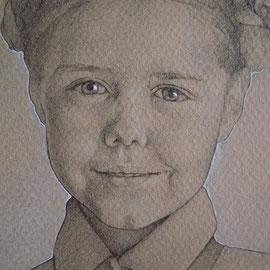"""""""Bambina"""" (particolare) - pastello su carta colorata cm. 30 x 20"""