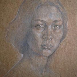 """""""Maria Elèna"""" - pastello su cartoncino colorato cm. 30 x 20"""