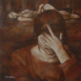 """""""Rabbia e rimorso"""" - tecnica mista su tela cm. 60 x 60 – € 400,00"""