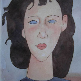 """""""Omaggio a Modigliani"""" - chine colorate su carta cm. 40 x 30 – € 80,00"""