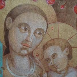 """""""Mater Salvatoris"""", particolare- tecnica mista su tavola cm. 38,5 x 31,5 – Cernusco sul Naviglio, collezione privata"""