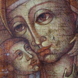 """""""Vergine Madre di Dio"""", particolare (vedi scheda) – tecnica mista su tavola cm. 26 x 18,7  – Paderno Dugnano, collezione privata"""