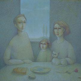 """""""Il cielo a casa nostra"""" - tecnica mista su tavola cm. 40 x 50"""