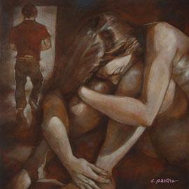 """""""Violenza e abbaglio"""" - tecnica mista su tela cm. 60 x 60 – € 400,00"""