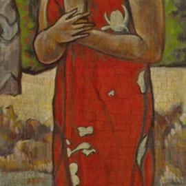 """""""Ia Orana Maria (copia d'arte da Gauguin)"""" - acrilico su tavola cm. 50 x 16 – Cernusco sul Naviglio, collezione privata"""