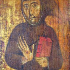 """""""San Francesco"""", particolare - tecnica mista su tavola cm. 26 x 11 - Cernusco sul Naviglio, collezione dell'autore"""