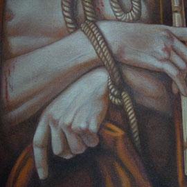"""""""Ecce Homo"""", particolare - acrilico su tela applicata su tavola cm 59 x 85 – Cernusco sul Naviglio, collezione privata"""