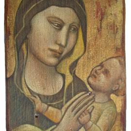 """""""Piccola Madonna"""" - tecnica mista su tavola con procedimento antichizzante cm. 13,7 x 8,7 – Cernusco sul Naviglio, collezione privata"""
