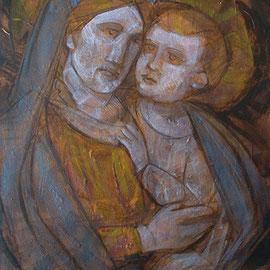 """""""Madonna con Bambino"""" olio e cera fredda su tavola, cm. 33 x 45,5 1 - Milano, collezione privata"""