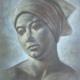 """""""Ragazza col fazzoletto"""" - tecnica mista su tela applicata su tavola cm. 30 x 24- Francia, collezione privata"""