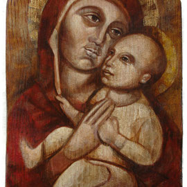 """""""Madonna col Bambino"""" - tecnica mista su tavola con procedimento antichizzante cm. 19 x 33 –  Melzo, collezione privata"""