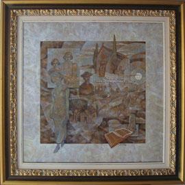"""""""E il tempo scorre"""" cornice - tecnica mista su legno cm. 60 x 60"""