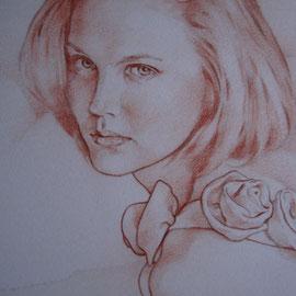 """""""Giovane donna"""" - sanguigna su carta cm. 30 x 20 - Monza, collezione privata"""