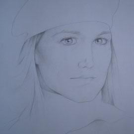 """""""Ragazza col cappello"""" - matita su carta cm. 50 x 35"""