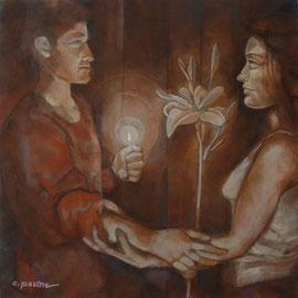 """Rinnovamento e speranza"" - tecnica mista su tela cm. 60 x 60 – € 400,00"