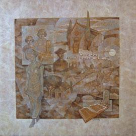 """""""E il tempo scorre"""" - tecnica mista su legno cm. 60 x 60"""