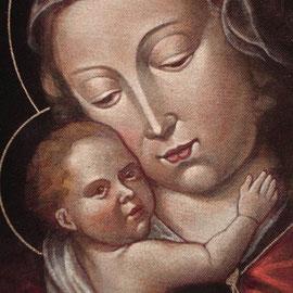 """""""Madonna col Bambino"""", particolare – da arte spagnola XV secolo - acrilico su tela applicata su tavola - Cernusco sul Naviglio, collezione privata"""