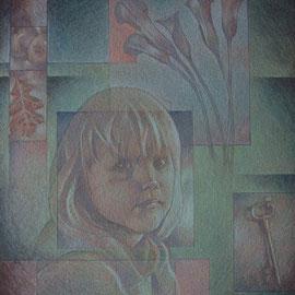 """""""I misteri della bambina"""" - tecnica mista su tavola cm. 30 x 23,5 - Monza, collezione privata"""
