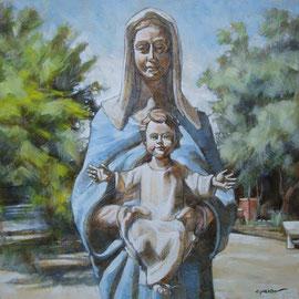 """""""Madonna dell'Accoglienza"""" - tecnica mista su tavola cm. 30 x 30 - Cernusco sul Naviglio, collezione privata"""