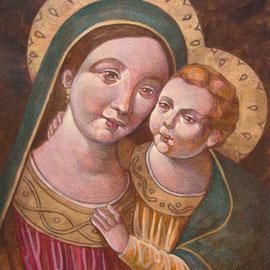 """""""Madonna del Buon Consiglio"""" (replica) - tecnica mista su cartone telato cm. 24 x 18 - Cernusco sul Naviglio, collezione privata"""