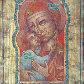 """""""Vergine Madre di Dio"""" (vedi scheda) – tecnica mista su tavola cm. 26 x 18,7 – Paderno Dugnano, collezione privata"""
